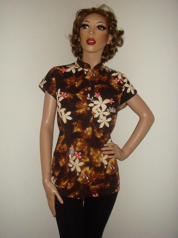 RESERVED Vintage 1950s 60s Kamehameha Miss Hawaii Cotton Tropical Hawaiian Shirt Top  M L