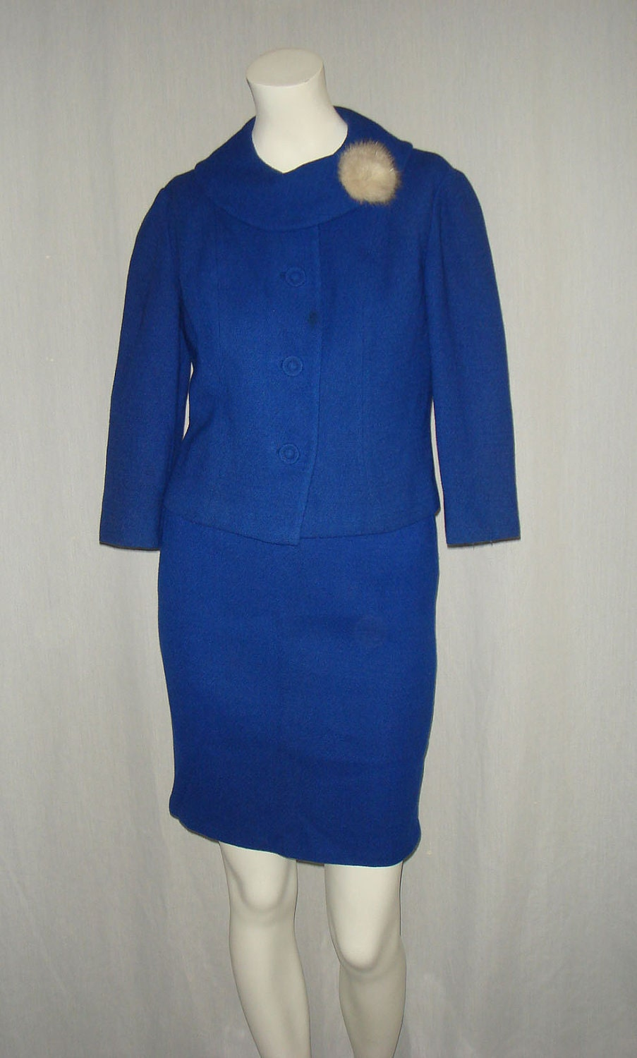 vintage 1960s royal blue mad skirt suit xs