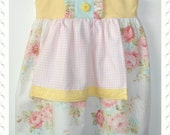 Listing for Katie - Apron Dress in soft pastels and roses - Size 2