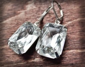 Crystal Clear Earrings Vintage Rhinestone Wedding Jewellery Upcycle Silver Plated Octagon Fashion Earrings April Birthstone