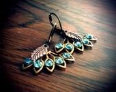 Art Deco Fan Earrings Aquamarine Turquoise Feather Copper Raw Brass Dangle 1920s Mad Men Fashion