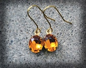 Petite Golden Orange Vintage Glass Earrings in Raw Brass - Oval Shaped Rhinestones with French Hooks