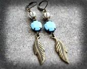 Feather Earrings Wedding Earrings Bridesmaid Jewelry Rhinestone Earrings Vintage Glass Boho Earrings Long Gypsy