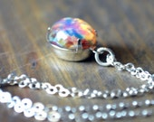 Harlequin Opal Necklace Fireopal Vintage Glass Cabochon Multi Colored Silver Plated Wedding Necklace October Birthstone Eco Friendly