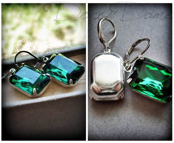 Emerald Green Earrings Bridal Jewellery Octagon Shaped Silver Plated Leverback Forest Jewel Tone Crystal Jewels