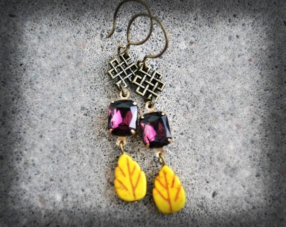 Amethyst and Yellow Earrings Vintage Glass Rhinestone Earrings Purple Leaf Earrings Antique Bronze Art Deco Long Dangle Earings
