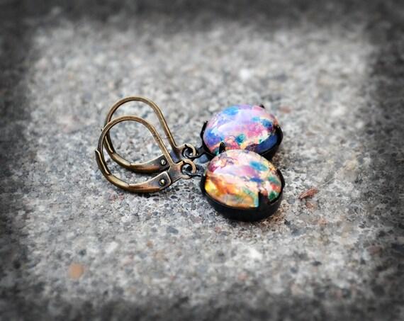 Harlequin Fireopal Opal Earrings Vintage Glass Earrings Opalite Spring Jewelry Pastel Office Fashion Spring Fashion