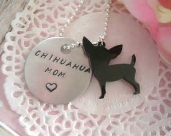 Chihuahua Mom Hand Stamped Keychain Black Or White Chihuahua Charm Made To Order
