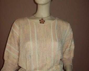 VINTAGE Peaches And Cream - Vintage Top Lightweight Sweater Top - Rayon Cotton Blend - Size 12 .  Vintage Knit  Coral Sweater