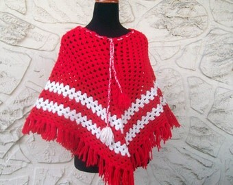 Vintage Find - Red and White Handmade Poncho - Crochet and Fringe
