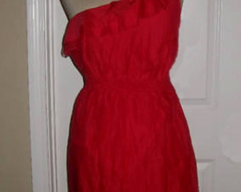 RED Ruffled One Shoulder Dress with comfort waist - Made to Order Sun Dress - Free Ship - Beach - Bridesmaids - Party - Summer - Cocktails