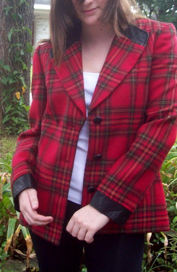 VINTAGE Albert Nipon Collectibles Red Plaid Jacket with Faux Leather Trim - Size 10