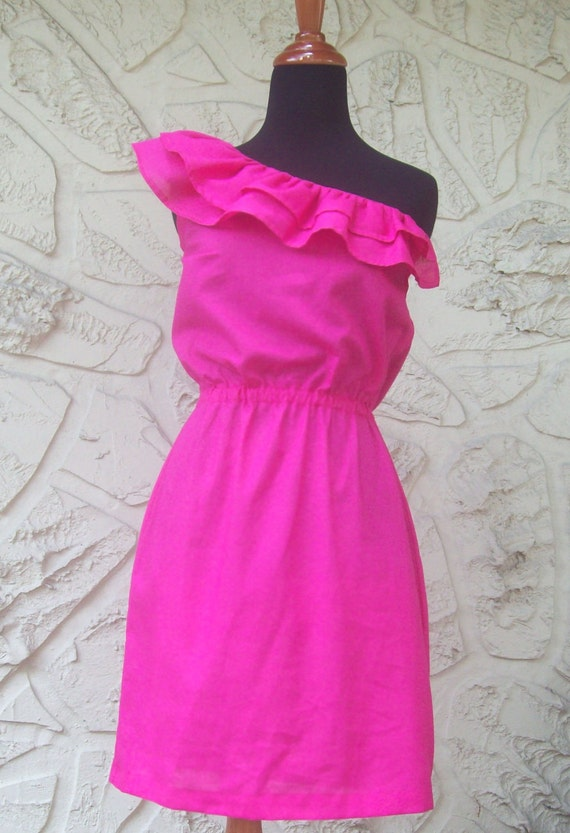 HOT PINK Ruffled One Shoulder Dress with comfort waist - Made to Order