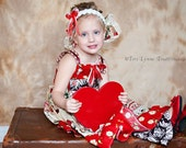 MADE TO ORDER  Dress Girls Apron Style Vintage Valentines with Ruffle Pants
