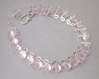 Rose Quartz Sterling Silver Bracelet