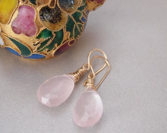 Rose Quartz Gold Filled Earrings
