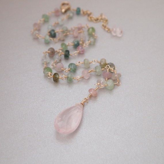 Afghani Watermelon Tourmaline Rose Quartz Gold Filled Necklace