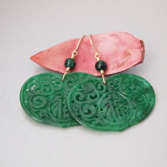 Chinese Green Jade Flat Heart Shape Gold Filled Earrings