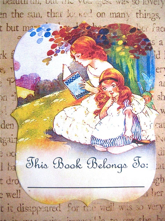 Bookplates - Vintage Nursery Rhyme, Mother and Daughter, Gift Set of 12 (Custom, Personalized, or Blank) Book Plate