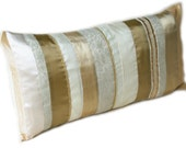 Gold and Cream Stripe Brocade Lumbar Pillow Cushion Cover