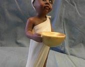 African Girl with Bowl  FC-67, hand painted ceramics