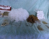 Misc. Arts & Crafts Box 1, mini eye glasses, white pompoms, 6 mm Gold bells, curly hair