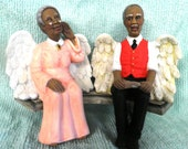 Angel Grandparent  Grannies on bench  Fc-43 & Fc-46 African American, hand painted ceramics