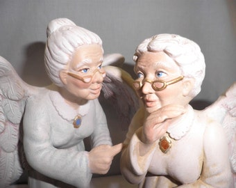 Granny Angels, pair, Scolding and Gossipping, Hand painted ceramics
