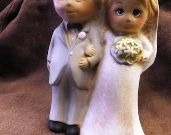 Bride and Groom figurene, hand painted ceramics