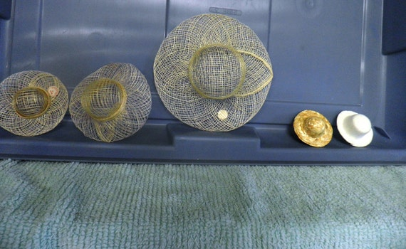 Sinamay Mesh woven hats in 4 sizes for Dolls or Craft Projects. Also miniature straw hats.