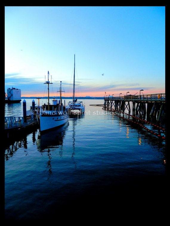 Sunset at the Ferry Landing, Blue, Evening, Landscape Photography Fine Art Photo