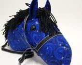 Stick Horse Head, Midnight Blue with Choice of Black or Blue Mane, MADE to ORDER, With or Without Stick