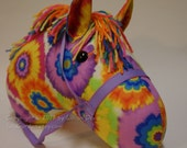 Bright & Colorful Tie Dye, Stick Horse, Hobby Horse, stick pony, Birthday, Stick horse head, MADE to ORDER, With or Without Stick