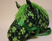 Green Shamrocks Stick Horse with Black Background and Glitter, MADE to ORDER, With or Without Stick