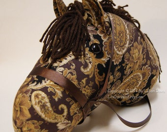 Stick Horse Head, Elegant Brown, Gold & Paisley, MADE to ORDER, With or Without Stick