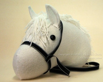 """Stick Horse Head, White with black bridle, """"Hi Ho Silver!"""", MADE to ORDER, With or Without Stick"""