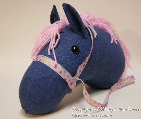Faux Blue Denim Stick Horse Head with Light Pink Mane