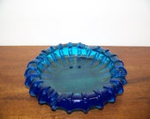 Vintage Blue Art Glass Ashtray - 1310