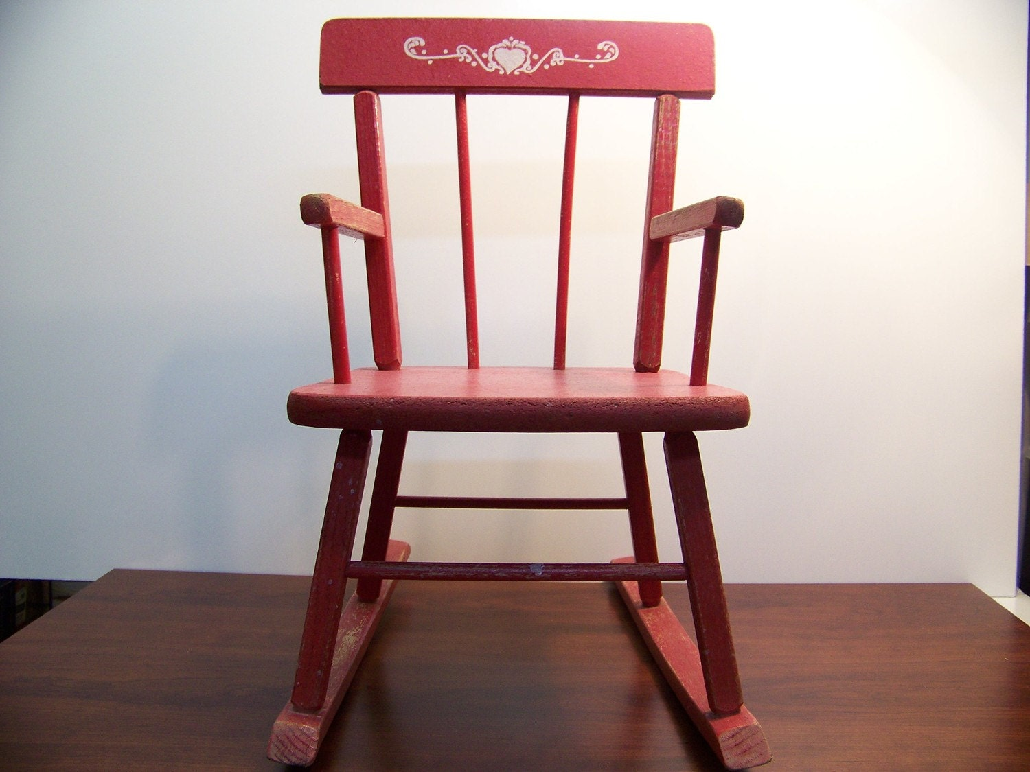 Child Red Rocking Chair ~ Reserved for katherine vintage child s red rocking chair
