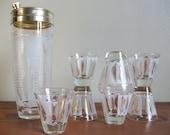 Vintage 1950s Atomic Leaf Detailed Cocktail Shaker and Glasses