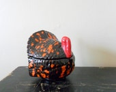 last minute 15% off sale vintage handmade orange and brown ceramic turkey container