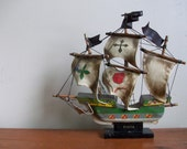 reduced clearance - midcentury handmade pinta ship model - nautical - pirate - colonial