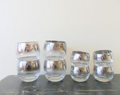 vintage mad men chic silver ombre roly poly cocktail glasses, highballs, retro barware, midcentury modern
