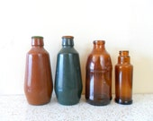 vintage mid-century portuguese amber and green glass bottles - wine - apothecary