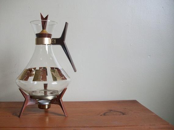 vintage 50s eames era atomic style inland glass coffee carafe