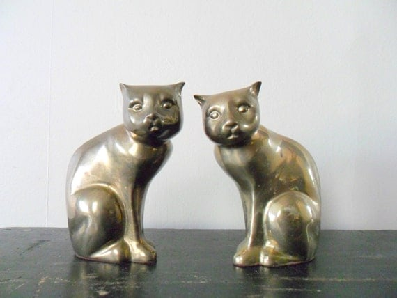 midwinter 15% off sale vintage brass cat figurines, patina, animal, pets, bookends, gold toned