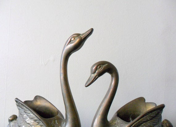 vintage midcentury heavy brass swan figurines, planters, dishes, patina, animal, bird
