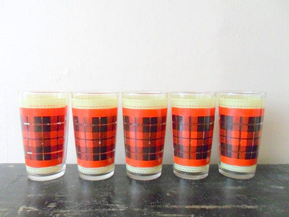 set of five plaid glasses - for him - red - masculine - retro barware