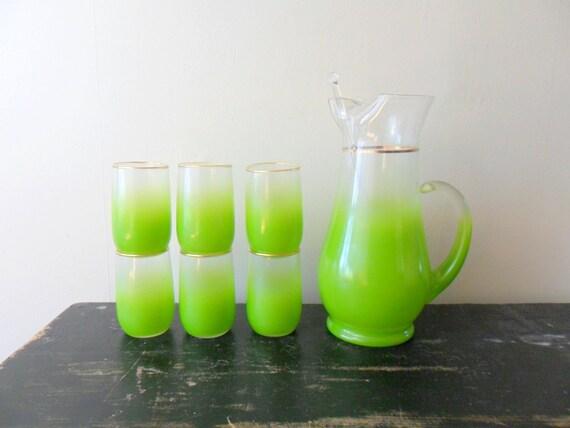 vintage 50s west virginia glass green blendo cocktail set, glassware, summer, beverage set, lemonade