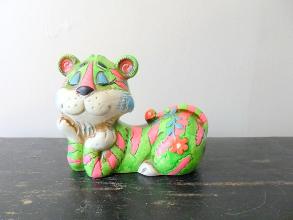 chalkware tiger bank - animal - bright - colorful - MOD - 1960s
